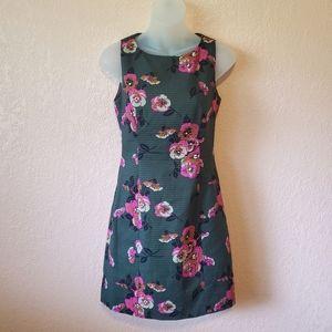 Fossil Dark Green Pink Flora Sleeveless Dress